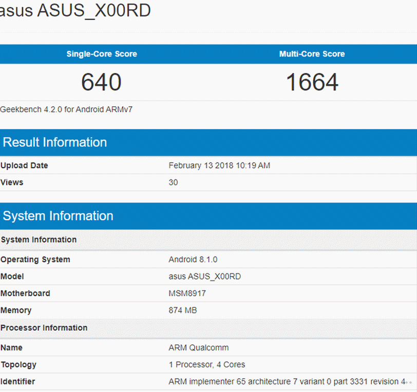 ASUS X00RD Android Go